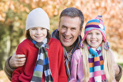 Grandfather and grandchildren on walk Royalty Free Stock Images