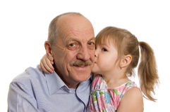 Grandfather with the granddaughter Stock Photos