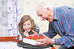 Grandfather with granddaughter royalty free stock image