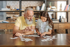 Grandfather and granddaughter being immersed into doing jigsaw puzzle Stock Photos