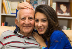 Grandfather and Granddaughter Stock Images
