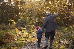 Grandfather And Granddaughter Enjoying Autumn Walk Royalty Free Stock Images