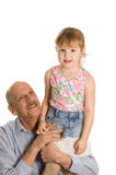 Grandfather with the granddaughter happy Stock Photos
