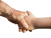 Grandfather and granddaughter holding hands Royalty Free Stock Image