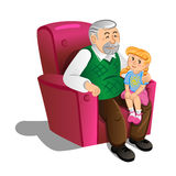 Grandfather with granddaughter. Illustration in cartoon style Stock Images