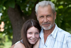 Grandfather and granddaughter outdoor Stock Photography