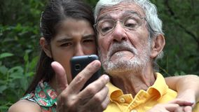 Grandfather and Granddaughter Selfie stock video