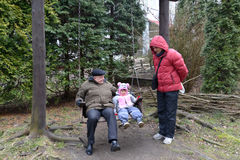 The grandfather with the granddaughter shake on a swing. The young men costs nearby. The family Royalty Free Stock Images
