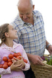 Grandfather and granddaughter with tomatoes and vegetables, cut out Stock Photo