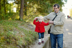 Grandfather and granddaughter walking in a park Royalty Free Stock Image