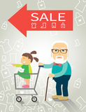 The grandfather and granddaughter went shopping Royalty Free Stock Image