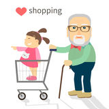 The grandfather and granddaughter went shopping Stock Image