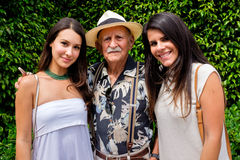 Grandfather and Granddaughters Royalty Free Stock Photo
