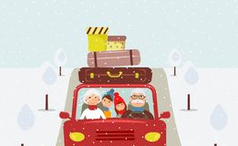 Grandfather, grandmother, grandson and granddaughter are going to Christmas vacation stock illustration