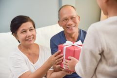 Grandfather and grandmother receiving red gift box. Royalty Free Stock Photos