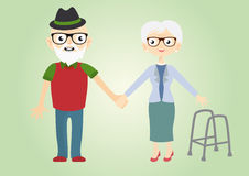Grandfather and grandmother vector. Cute illustration of elderly people. Seniors in love holding hands. Laughing of seniors couple Stock Images