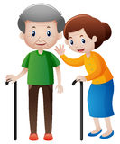 Grandfather and grandmother with walking stick Stock Photo
