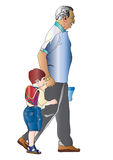 Grandfather and grandson. Great grandfather and grandson illustration Royalty Free Stock Photo