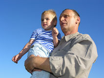 Grandfather with grandson 2. Grandfather with grandson look at horizon and future stock photos