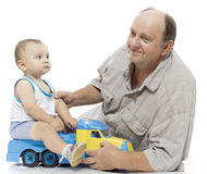 The grandfather and the grandson Stock Images