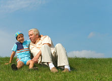 The grandfather and grandson Stock Photography