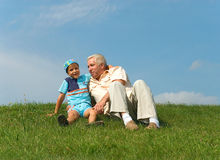 The grandfather and grandson Royalty Free Stock Images