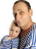 Grandfather with grandson. In mood stock photo