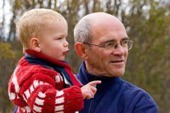 Grandfather and grandson Royalty Free Stock Photo