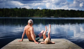Grandfather and Grandson Stock Image