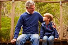 Grandfather with grandson on a bridge in a forest, close up stock photography