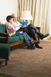 Grandfather and Grandson With Computer - Vertica Royalty Free Stock Photo