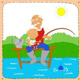 Grandfather with a grandson on fishing. Colourful illustration of a grey-headed grandfather with a grandson on fishing Royalty Free Stock Photography