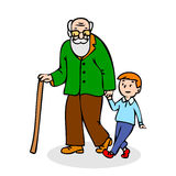 Grandfather with grandson. Funny old man with walking cane and w Stock Image