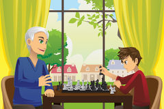 Grandfather and grandson playing chess. A vector illustration of a grandfather and his grandson playing chess at home Stock Images