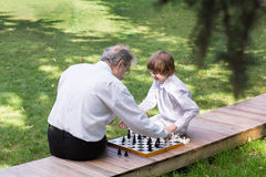 Grandfather and grandson playing chess in a park. On sunny day Royalty Free Stock Image
