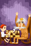 Grandfather grandson chess character cartoon style  illust Royalty Free Stock Image