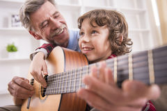 Grandfather and grandson Royalty Free Stock Photos