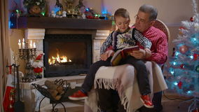 Grandfather and grandson reading a book stock footage
