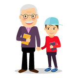 Grandfather and grandson reading books Royalty Free Stock Photography