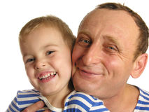 Grandfather with grandson smiling. Isolated royalty free stock photography