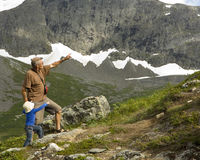 Grandfather and grandson trekking Stock Photos