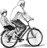 Grandfather and grandson. Vector sketch of an elderly man with his grandson riding a bicycle Royalty Free Stock Photography