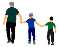 Grandfather and grandsons hold hands and walking. Grandfather Carrying Grandson vector illustration. Fathers day. family love, outdoor activity. Boys with Royalty Free Stock Images