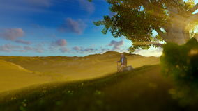 Grandfather on green meadow, resting under a tree at sunrise, tilt stock illustration