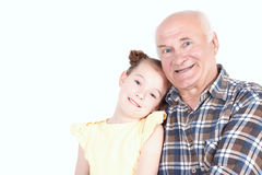 Grandfather with his grand daughter Royalty Free Stock Photo
