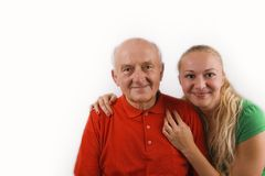 Grandfather and his granddaughter Stock Image
