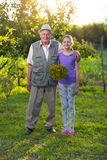 Grandfather with his granddaughter in the  garden Stock Photography