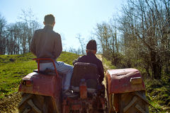 Grandfather and his grandson driving a tractor at sunset Stock Image