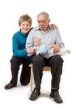 Grandfather with his grandsons. Isolated on white royalty free stock photography