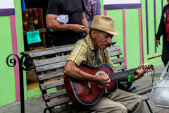 The grandfather and his music. stock photo